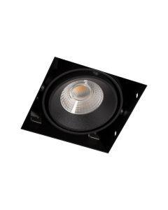 LED-inbouwspot BR0021 Vierkant card. 1x7W 2700K dimbaar Zwart