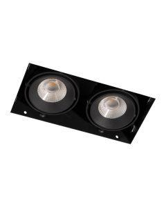 LED-inbouwspot BR0022 Rechth. card. 2x7W DTW 3000K-2000K Zwart