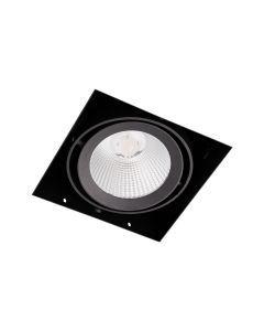 LED-inbouwspot BR0025 Vierkant card. 1x15W 2700K Zwart