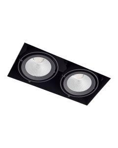 LED-inbouwspot BR0026 Rechth. card. 2x15W 2700K Zwart
