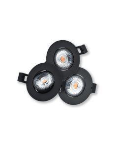 LED Camini Downlight rond kantelbaar dimbaar 3x8W 36° zwart 2.700K IP44